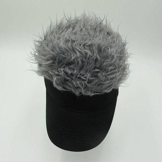 45160407aa9 Gnenric - Novelty Wig Baseball Hat Sun Visor Cap with Fake Hair  Specification Camouflage hat gray hair - Walmart.com