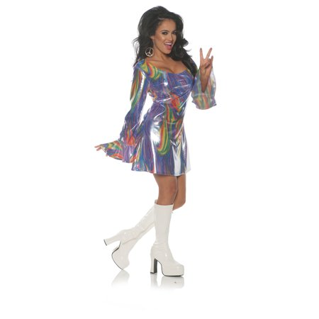 70s Fashion Halloween Costume (Shakin Womens Adult Disco Diva 70S Multi Colored Costume Mini)