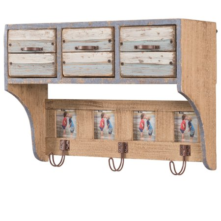 Rustic Wall Mounted Hanging Entryway Shelf with 3 Drawers and 3 hooks. 16