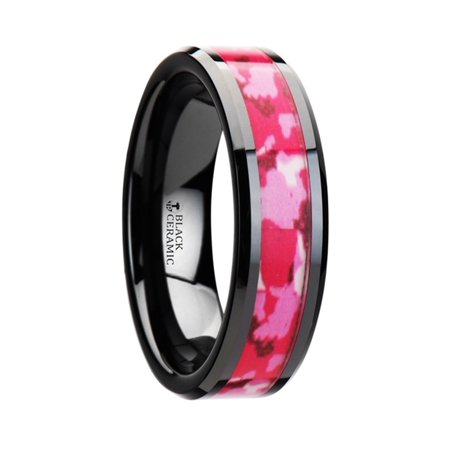 SIERRA Black Ceramic Ring with Pink and White Camouflage Inlay - 8mm 8 Mm Ceramic Ring
