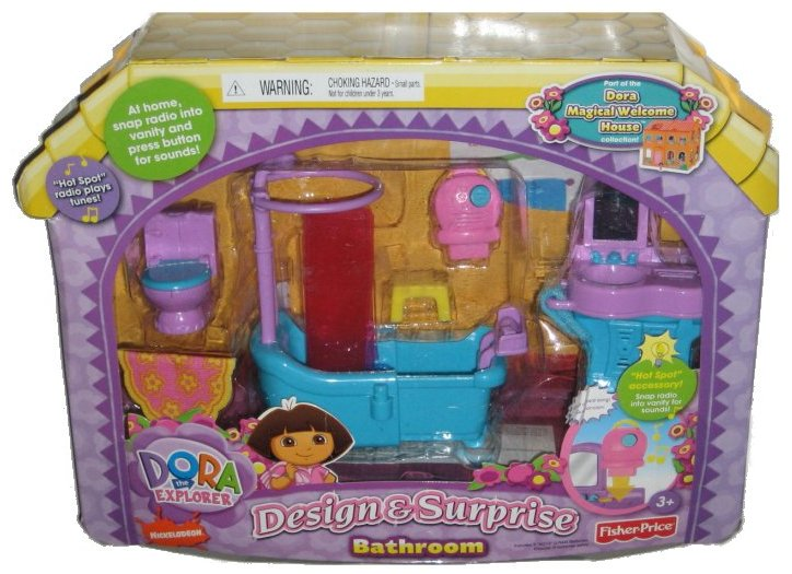 Dora The Explorer Magical Welcome House Design & Surprise Bathroom Toy Doll Play Set by FISHER PRICE