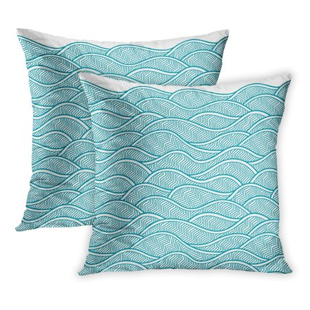 Trans Ocean Dunes Waves (ECCOT Colorful Water Border Pattern Abstract Waves Dunes Geometric Sea Ocean Drawn Hill Line PillowCase Pillow Cover 20x20 inch Set of 2)