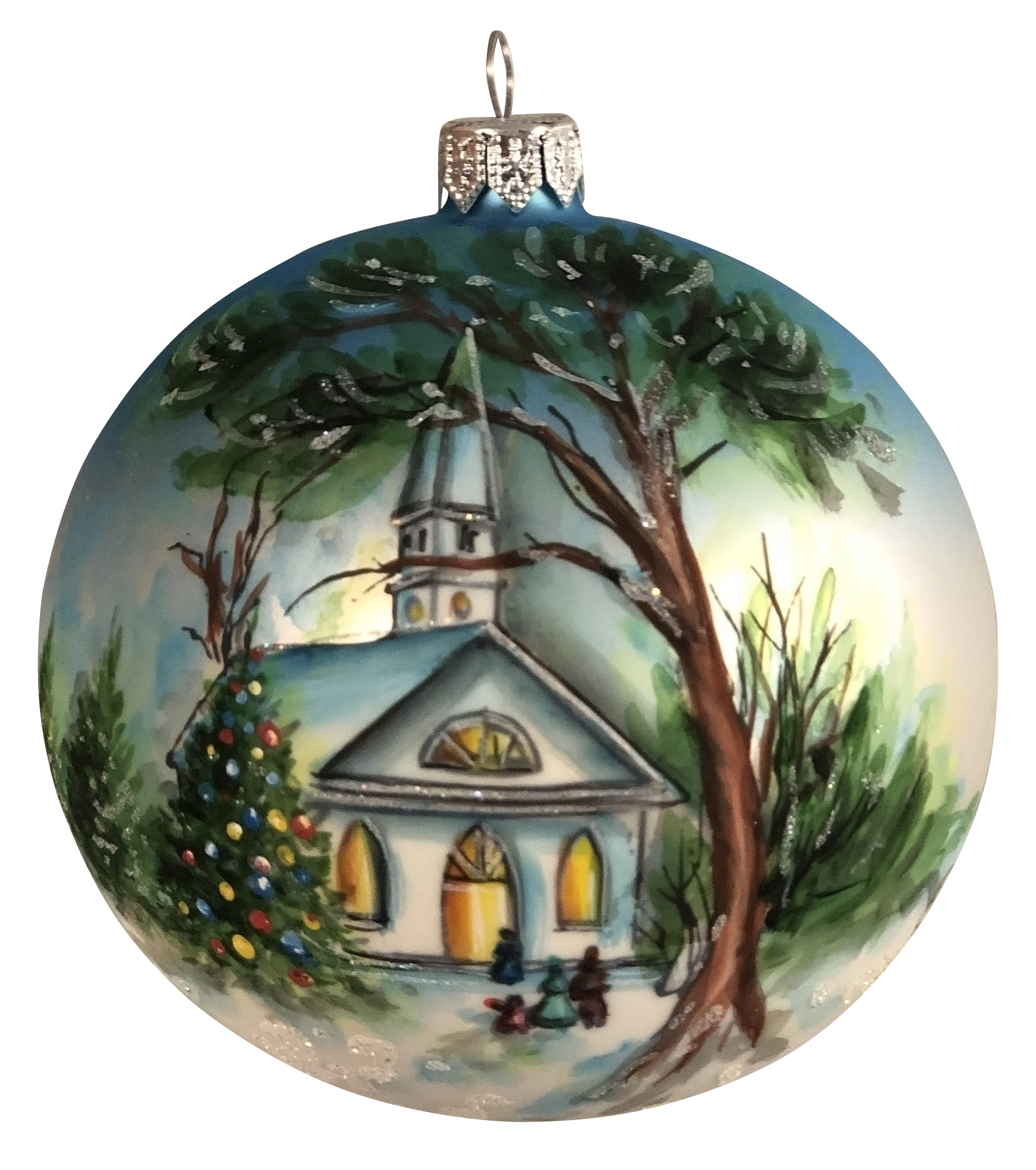 4 Inch 4 Round European Made Hand Decorated With Tree And Church Mouthblown Graphite Christmas Tree Ornament Walmart Com Walmart Com