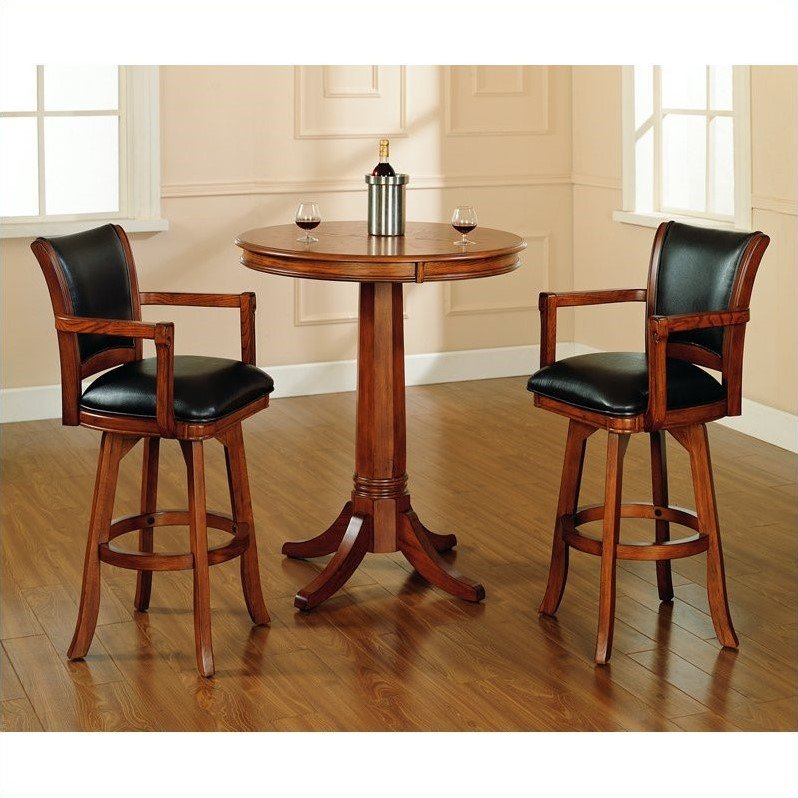 Hillsdale Park View Round Bar Height Pub Table in Medium Brown Oak - image 1 of 4