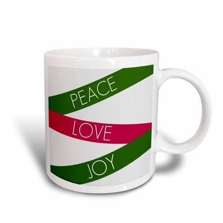 3dRose Green and Red Peace, Love and Joy- Inspirational Words- Christmas, Ceramic Mug, 11-ounce