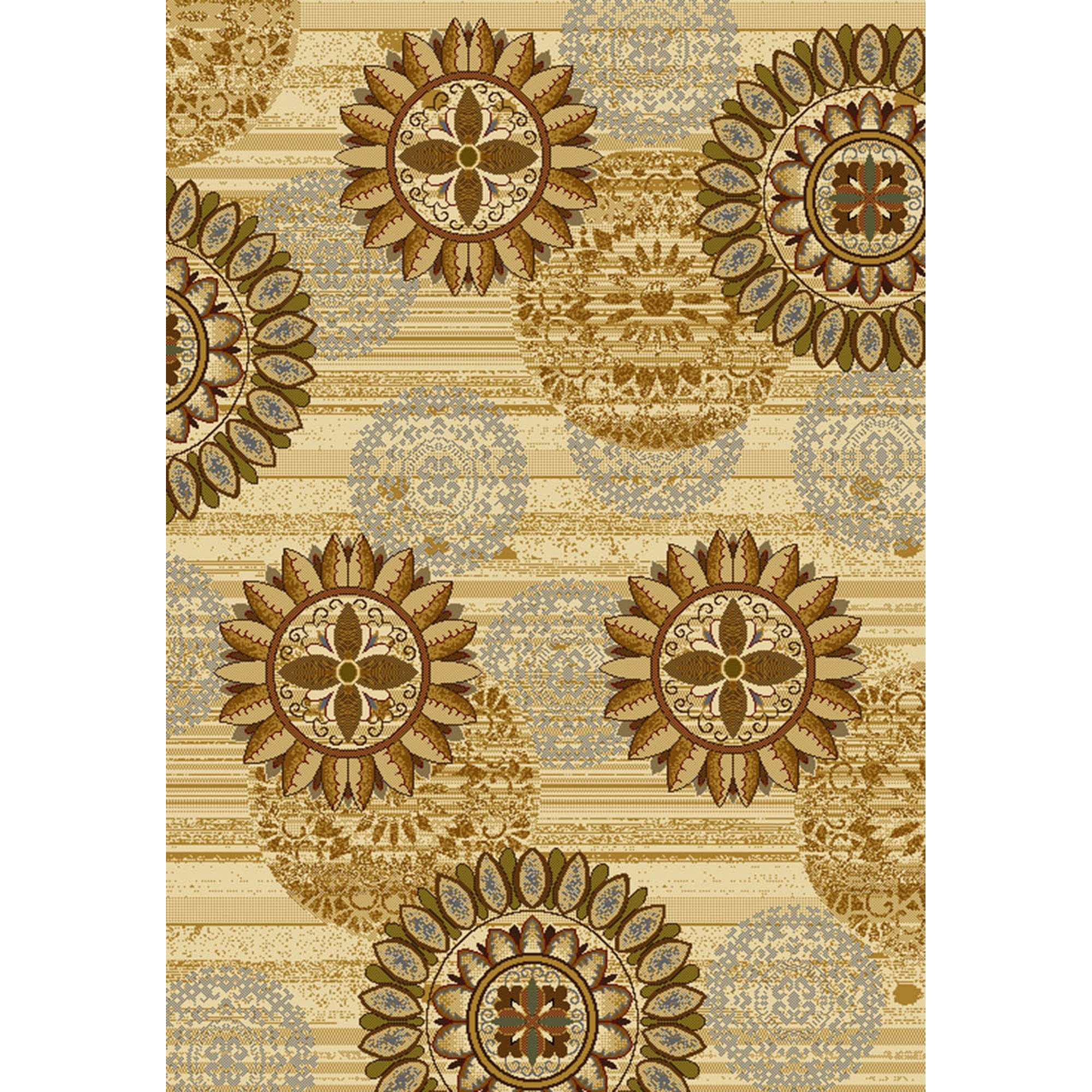 "United Weavers Essence Medallion Ivory Woven Polypropylene Runner Rug, 1'10"" x 7'2"""