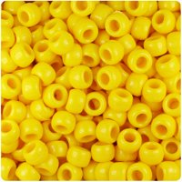 BeadTin Bright Yellow Opaque 9mm Barrel Pony Beads (500pc)