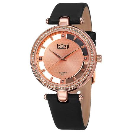 - Women's Swiss Quartz Diamond Dial Satin Rose-Tone Strap Watch