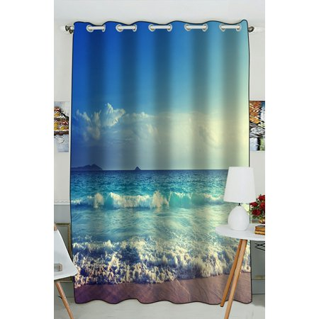 PHFZK Ocean Wave Window Curtain, Seychelles Beach in Sunset Time, Navy Blue White Window Curtain Blackout Curtain For Bedroom living Room Kitchen Room 52x84 inches One Piece