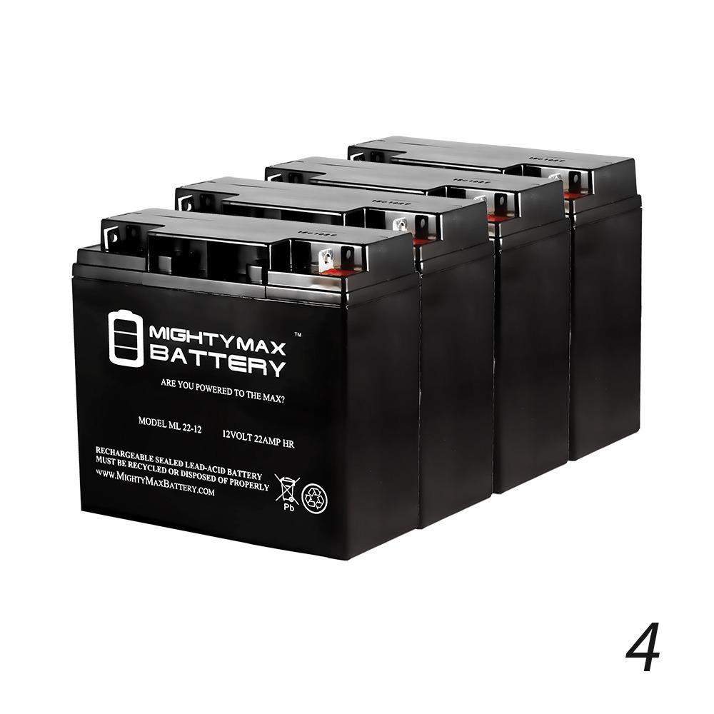 12V 22AH SLA Battery for Solaris Lite LED Flood Light - 4 Pack