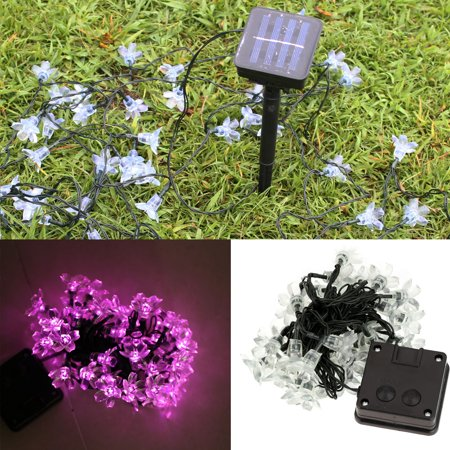Lixada 50 LEDs Solar Light String Outdoor Fairy Flower Blossom Decoration Christmas Wedding Party Garden