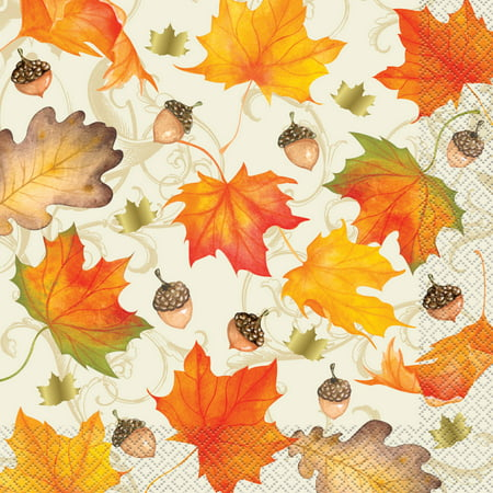 Fall Leaves Thanksgiving Dinner Napkins, Gold Foil, 16ct
