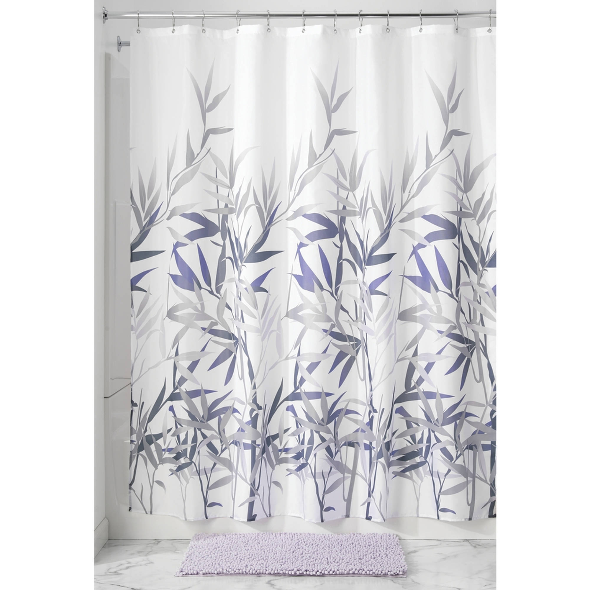 "InterDesign Anzu Fabric Shower Curtain, Standard 72"" x 72"", Purple/Gray"