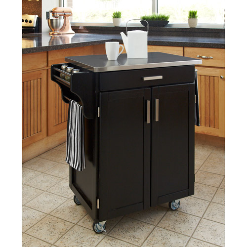 Home Styles Kitchen Cart Black Stainless Steel Top