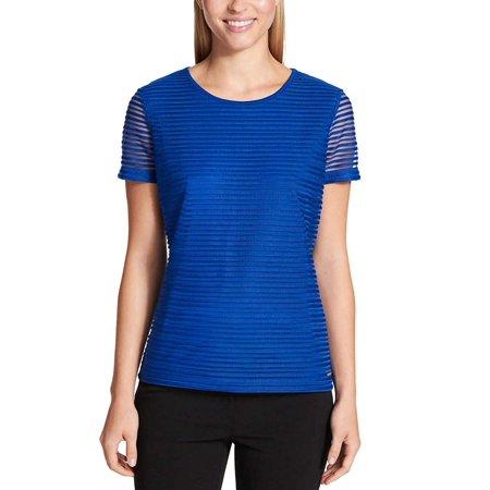 Calvin Klein Womens Stretch Textured Shirt (Regatta, X-Large)