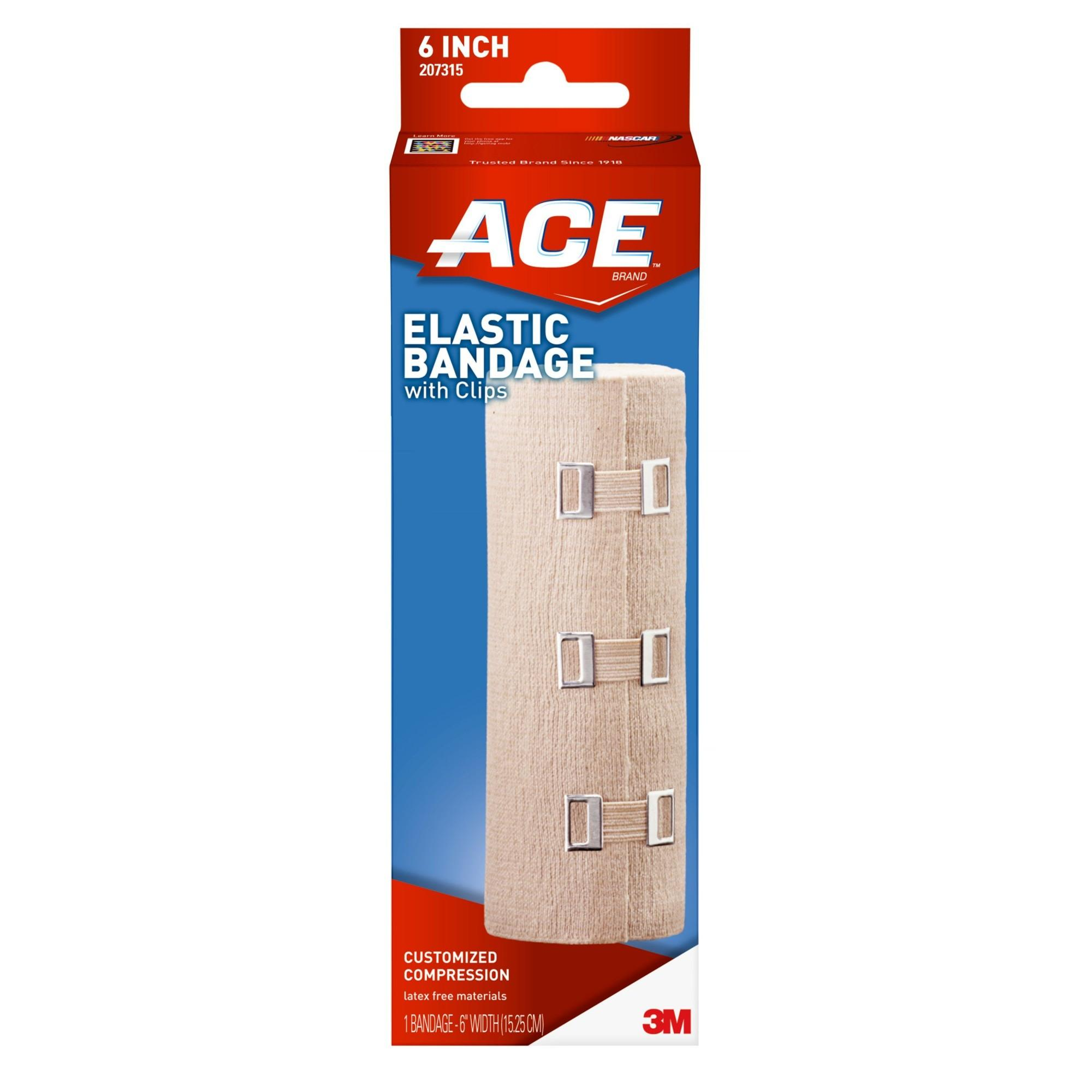 ACE Brand Elastic Bandage with Clips, 6 in., Beige, 1/Pack
