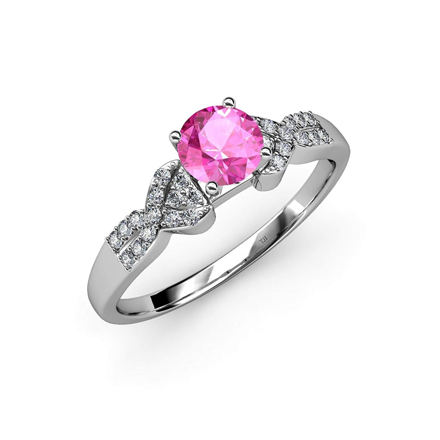 Pink Sapphire and Diamond (SI2-I1, G-H) Engagement Ring 1.00 ct tw in 14K White Gold.size 7.5 by TriJewels