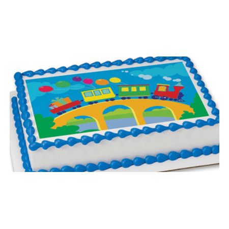 Birthday Train Edible Extra Large 8 x 10 Cake Decoration Topper -