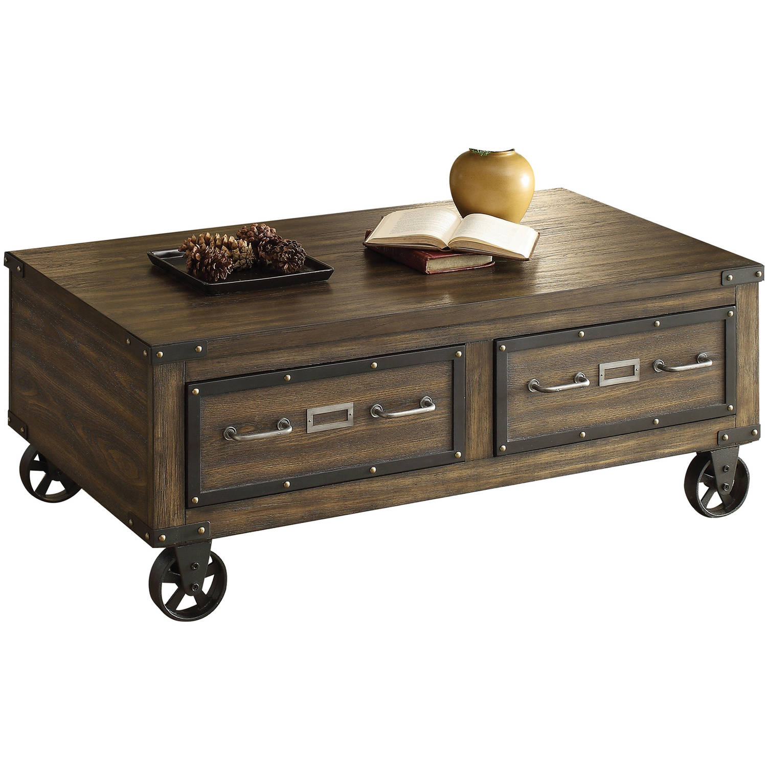 ACME Kailas Coffee Table with 2 Drawers, Weathered Dark Oak