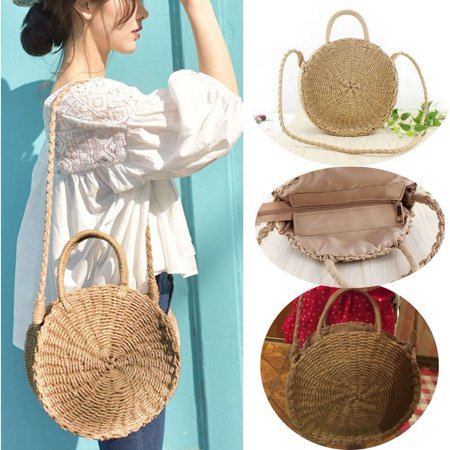Women Straw Retro Bag Handwoven Round Rattan Handbags Knitted Crossbody Bag Tote