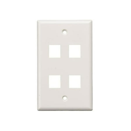 - Cable Leader WP302-8400 4-Port Wall Plate for Keystone Insert, White