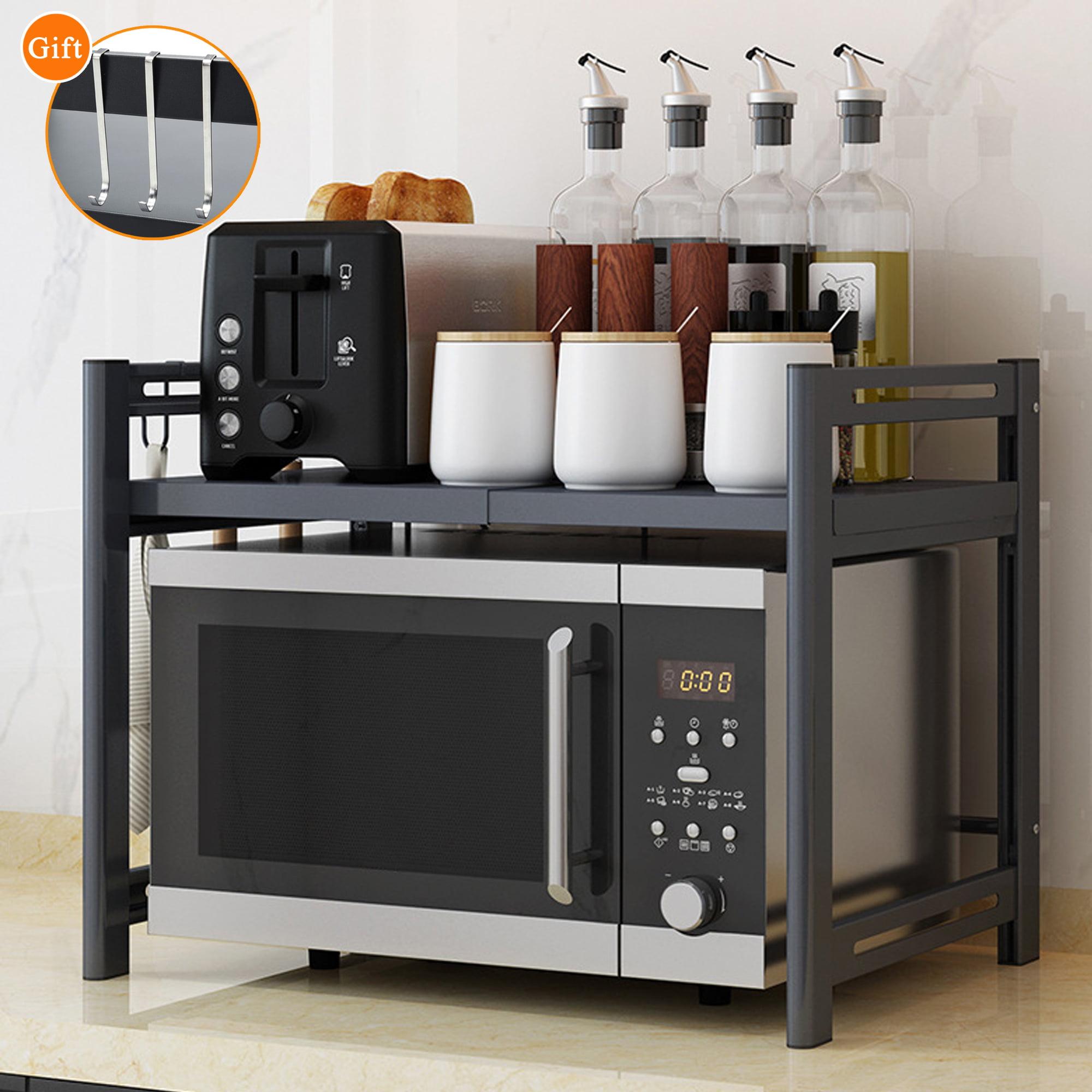 2 Tier Organizer Microwave Kitchen Storage Shelf Rack Stand Bracket With 6 Hooks