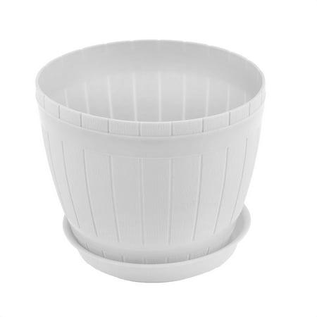 Home Office Hotel Desk Plastic Casks Shape Plant Flower Pot Holder White w Tray