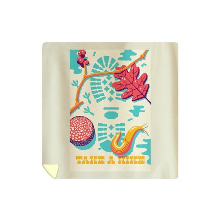Take a Hike - Bootprint - Bright Colors - Vector - Lantern Press Artwork (88x88 Queen Microfiber Duvet Cover)