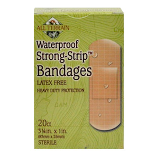 All Terrain Waterproof Strong Strip Bandages 1 Inch, Latex Free, 20 Ea