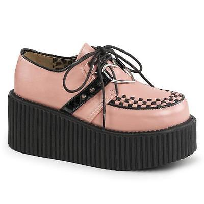 B. Pink Vegan Leather Demonia Creepers Womens Size: 8 by