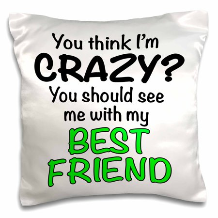 3dRose You think Im crazy you should see me with my best friend, Lime Green, Pillow Case, 16 by (My Best Friend Pillow Reviews)