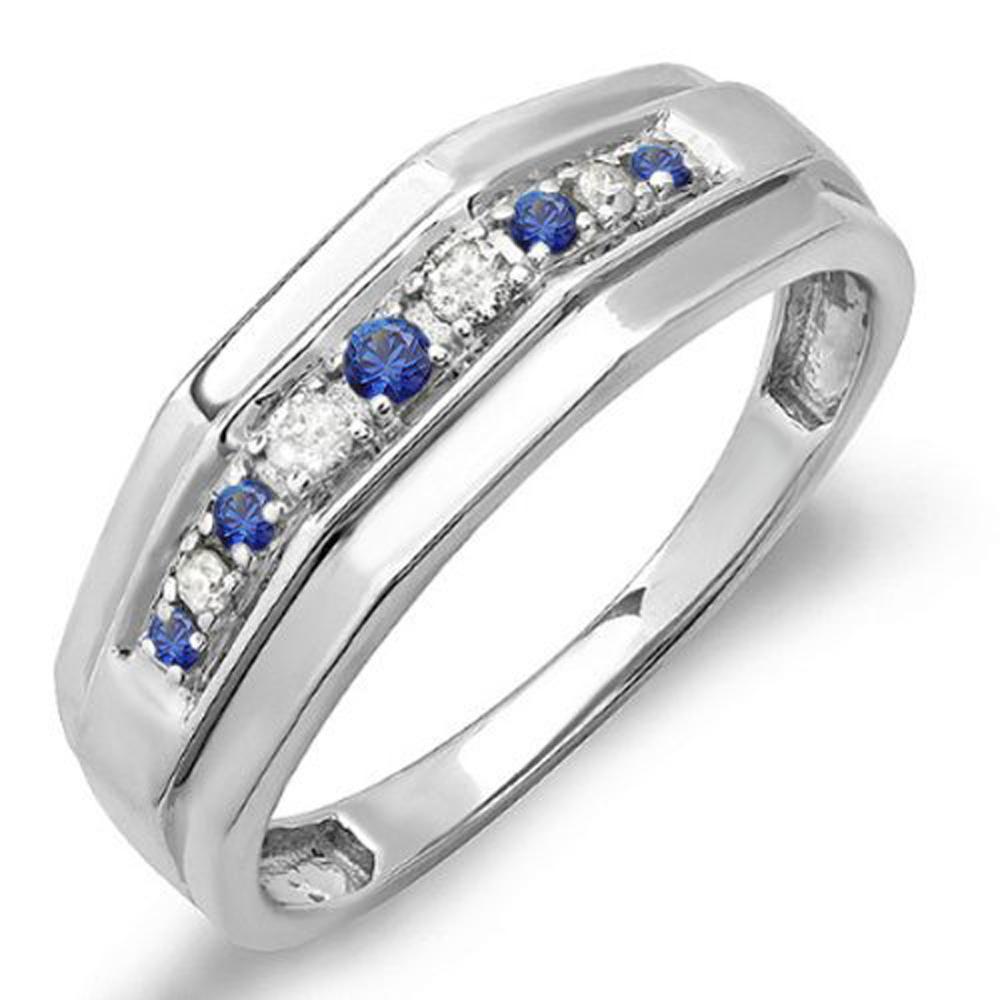 Sterling Silver Round Blue Sapphire & White Diamond Men's Wedding Anniversary Band
