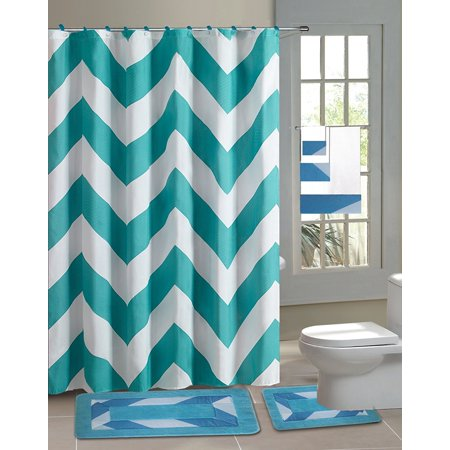 15pc Aqua Chevron Bathroom Set Printed Banded Rubber Backing Rug Bath Mats With Fabric Shower Curtain Hooks New Designs