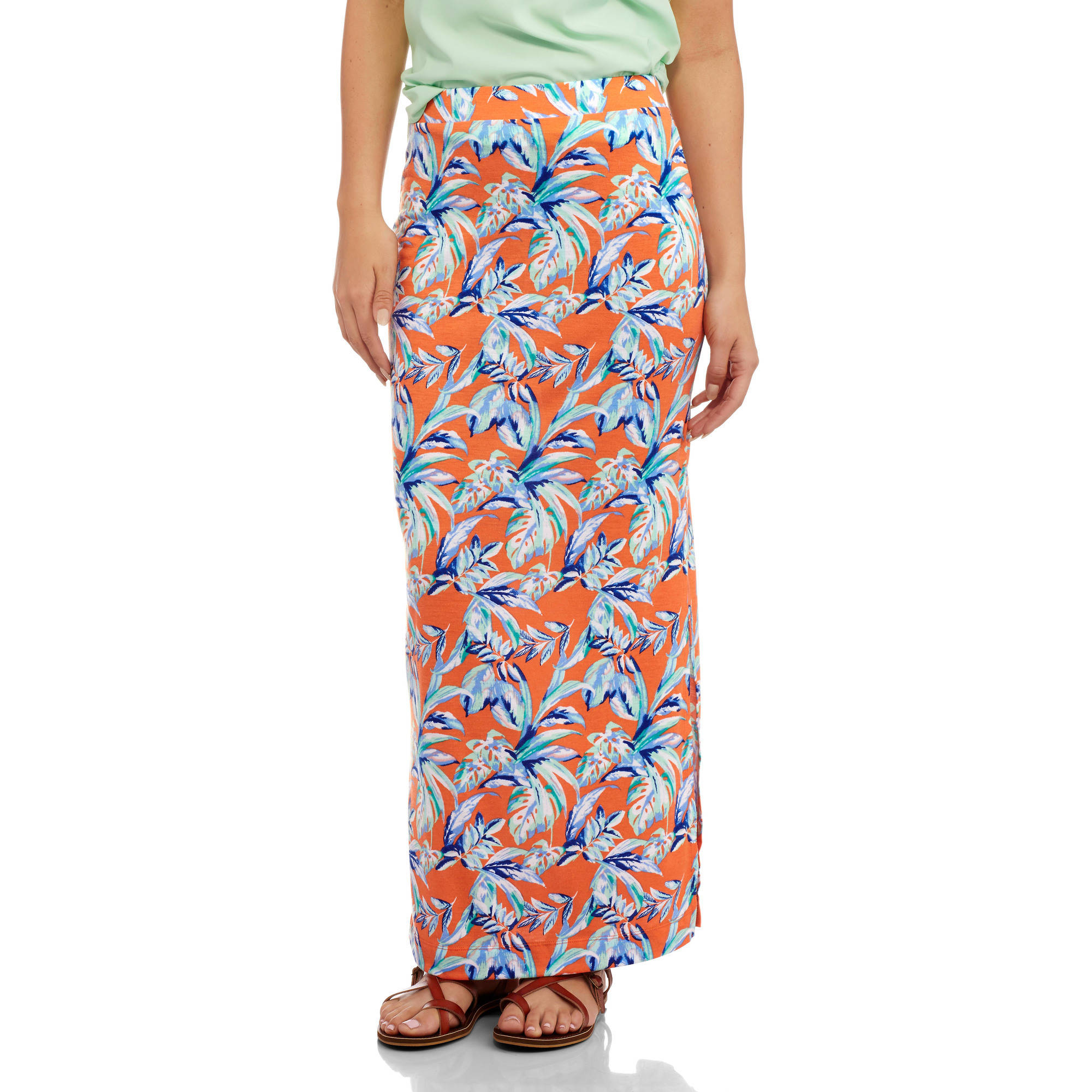 Ocean Pacific Women's Printed Maxi Skirt with Side Slit