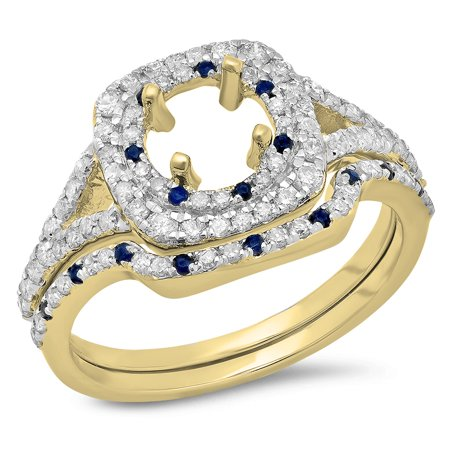 Sapphire Semi Mount - 0.80 Carat (Ctw) 10K Yellow Gold Round Cut Blue Sapphire & White Diamond Ladies Bridal Split Shank Semi Mount Engagement