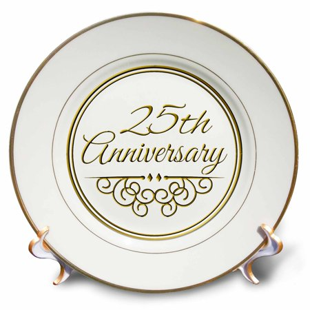 3dRose 25th Anniversary gift - gold text for celebrating wedding anniversaries - 25 years married together - Porcelain Plate, 8-inch