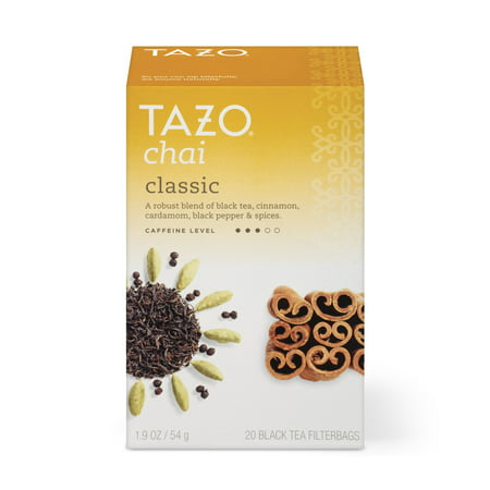 (3 Boxes) Tazo Chai Black tea Tea bags 20ct (Iced Chai Tea Latte Recipe With Tea Bag)