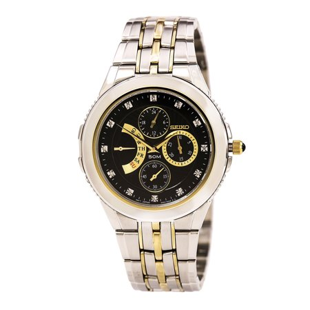 Seiko SRL002 Mens Le Grand Sport Black Dial Two Tone Steel Diamond Watch by