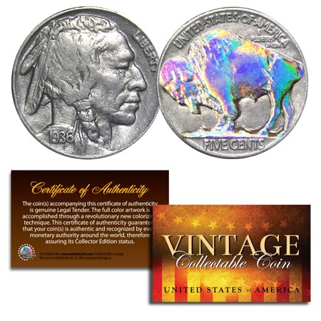 1930's 5 Cent Genuine Indian Head Buffalo Nickel Coin Full Date COA - HOLOGRAM