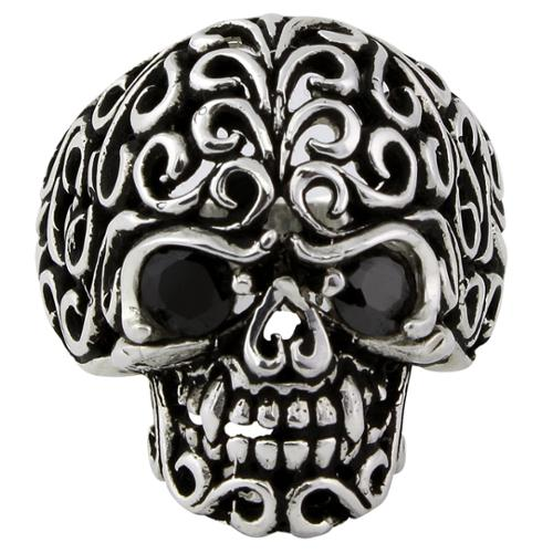 Hellfire Jewelry Sterling Silver Floral Filigree Skull Ring