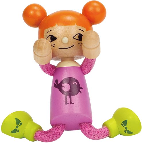 Hape Happy Family Poseable Wooden Youngest Daughter Play Doll Multi-Colored