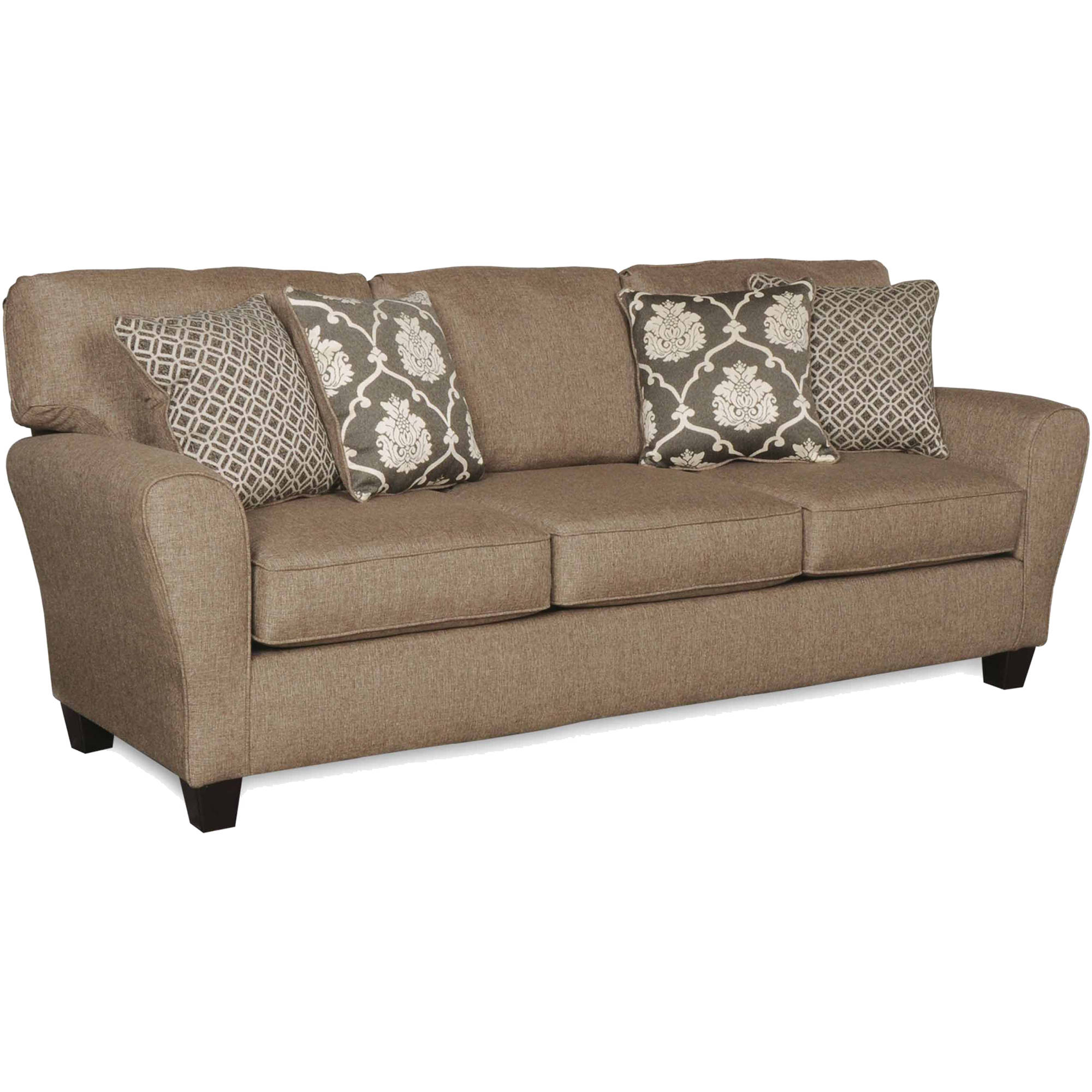 SoFab Aubrey Grande Brown with Light Grey 3-Seat Sofa with 4 Reversible Accent Pillows