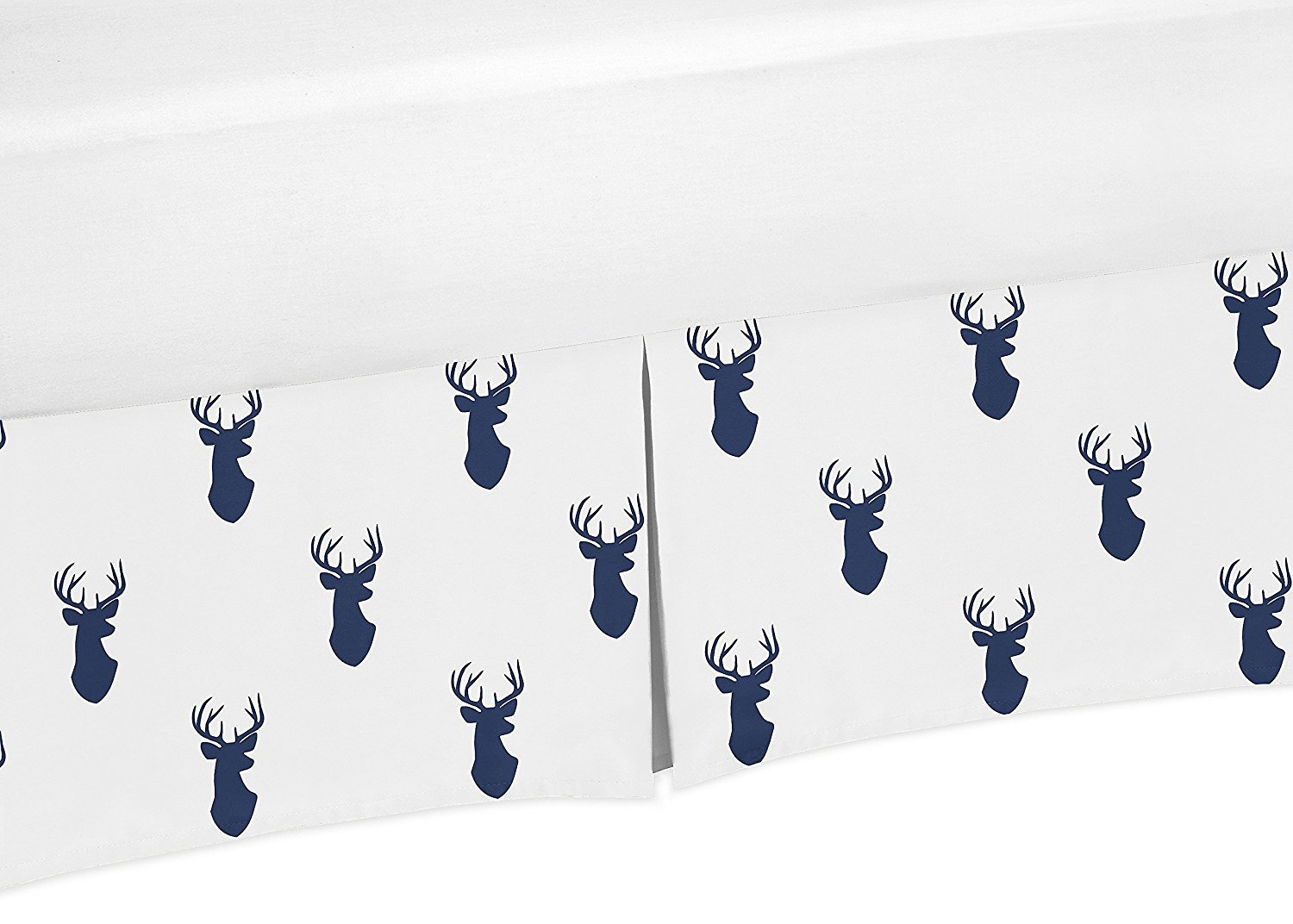 Navy Blue and White Crib Bedskirt Dust Ruffle for Boys Woodland Deer Collection Baby Bedding Sets by Sweet Jojo Designs