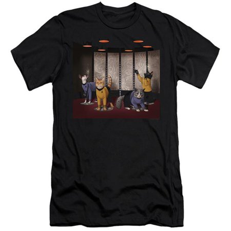 Trevco Sportswear CBS2550-PSF-2 Star Trek & Beam Meow Up-HBO Adult Premium Canvas Brand Slim Fit 30 by 1 T-Shirt, Black - Medium - image 1 of 1