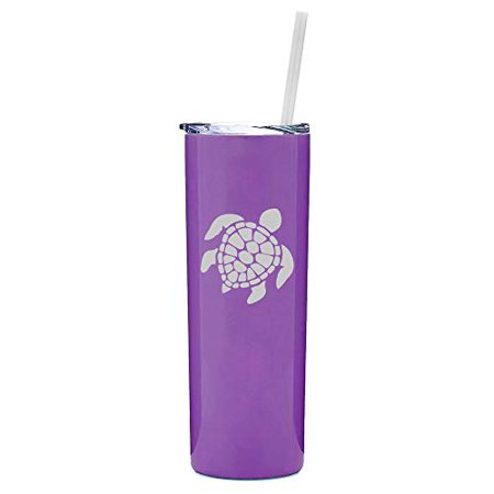 20 oz Skinny Tall Tumbler Stainless Steel Vacuum Insulated Travel Mug With Straw Sea Turtle (Purple) - Stainless Steel Tumbler With Straw
