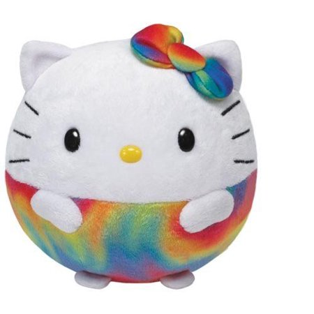 Hello Kitty Rainbow Ballz - Favorite Character Stuffed Animal by Ty - Rainbow Kitty