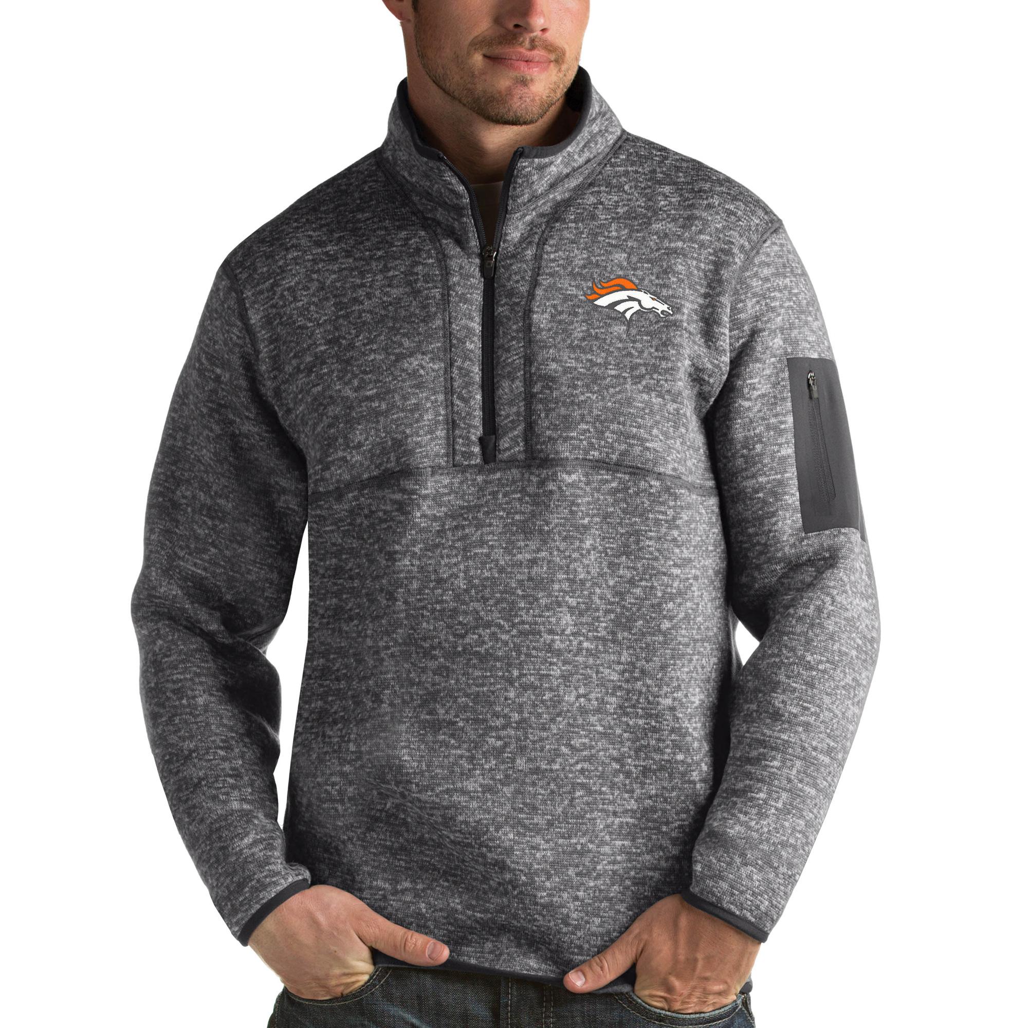 Denver Broncos Antigua Fortune Quarter-Zip Pullover Jacket - Charcoal