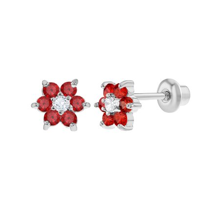 Rhodium Plated Flower Crystals Screw Back Earrings for Babies Kids