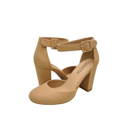 City Classified Kaili Women's Closed Toe Ankle Strap Block - Closed Toe Heels