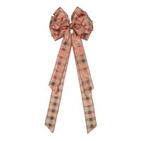 """Holiday Time Pink and Red Plaid Ribbon Christmas Tree Topper, 10.75"""" x 12.75"""""""